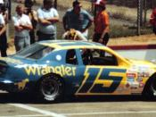 The Bud Moore owned Wrangler Ford #15 of Dale Earnhardt. Dale drove 2 seasons for Moore in the Ford, winning 3 races and finished 8th this weekend in the Van Scoy 500. While the other teams brought the boxy 1982 version of the T-bird to Pocono in 1983, th