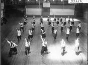 Women's physical education exhibition in Herron Gymnasium 1916