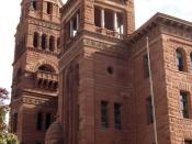 The Bexar County, Texas Courthouse located at 29.4232° -98.4937° in San Antonio, Texas, United States, designed in Romanesque Revival style, was built in 1829. The building was added to the National Register of Historic Places in 1977.