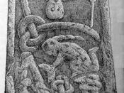 A part of the Gosforth Cross showing, among other things a figure with a horn above a bound figure, usually interpreted to be Loki and Sigyn from Norse mythology. Signed