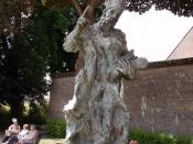 Fulbert statue tribute - eroded cathedral statue, Chartres