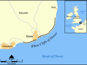 The location and extent of the White Cliffs of Dover.
