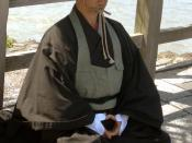 Yuzen, a buddhist monk from the Sōtō Zen sect begging at Oigawa, Kyoto. Begging is part of the training of some Buddhist sects.