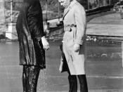 English: Laurence Harvey (left) and Frank Sinatra (right) filming a scene from The Manchurian Candidate in Central Park, New York. Harvey just walked off the pier.