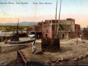 Taos Pueblo in pre-1923 postcard