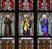 English: Part of stained glass windows in St. Vitus Cathedral, Prague