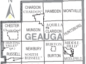 Map of Geauga County, Ohio, United States with township and municipal boundaries
