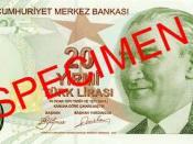 English: Front of 20 Turkish Lira Türkçe: 20 Türk Lirası'nın ön yüzü