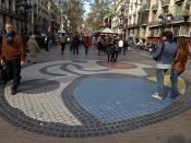English: A mosaic by Joan Miró on the Ramblas of Barcelona