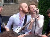 English: Coldplay: Jonny Buckland, Will Champion, Chris Martin and Guy Berryman. BBC Television Centre, London