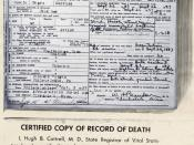 English: Bessie Smith official death certificate issued by state of Mississippi