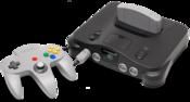 English: A Nintendo 64 video game console shown with gray controller. This is the PNG version. Français : Une console de jeu vidéo Nitendo 64 avec une commande grise.