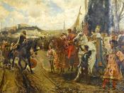 The Capitulation of Granada, by Francisco Pradilla y Ortiz: Boabdil confronts Ferdinand and Isabella. 1882 Deutsch: 1492 - Muhammad XII. kapituliert und übergibt die Stadt an Königin Isabella I. von Kastilien und König Ferdinand II. von Aragón