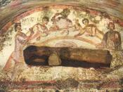 Early Christians celebrating Communion at an Agape Feast, from the Catacomb of Ss. Peter and Marcellinus.