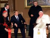 English: VATICAN CITY. A meeting with Pope John Paul II. Русский: ВАТИКАН. Встреча с Папой Римским Иоанном Павлом II.