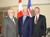 Ambassador Jacobson chats with Red Deer County Mayor Earl Kinsella (left) and Red Deer City Mayor Morris Flewwelling (right) at a meet & greet event they hosted for the Ambassador and Mrs. Jacobson in their community