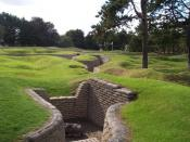 English: German mortar emplacement in preserved trenches. Part of German forward line