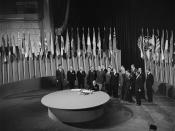 Joaquin Fernandez Y Fernandez, Minister for Foreign Affairs and Chairman of the delegation from Chile, signing the UN Charter at a ceremony held at the Veterans' War Memorial Building in San Francisco on 26 June 1945.