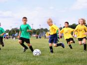 Sport in childhood. Association football, shown above, is a team sport which also provides opportunities to nurture social interaction skills.