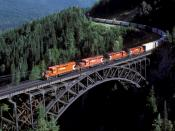 A Canadian Pacific Railway freight eastbound over the Stoney Creek Bridge, British Columbia.
