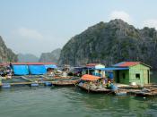 Floating fishing village in Ha-Long Bay, Vietnam.