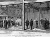 Reception by the Emperor of Japan (Mikado) of the Second French Military Mission to Japan, led by Marquerie, in 1872.