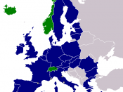 English: Map showing the members of the European Union and the European Free Trade Association. Based on Image:EEA.png