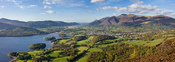 A 2 × 3 segment panorama of the town of Keswick, nestled between the fells of Skiddaw and Derwent Water in the Lake District, Cumbria, England. Taken from about 3/4 of the way to the summit of Walla Crag.
