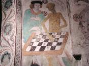 Death playing chess by Albertus Pictor (1440-1507). Täby kyrka, Diocese of Stockholm.