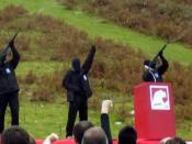 Members of ETA shoot salvoes in the Day of the Basque Soldier at Aritxulegi, Oiartzun, Guipúzcoa, Spain. They are suspected to be Igor Portu, Martín Sarasola and Mikel San Sebastián (El Mundo 09 January 2008). Српски / Srpski: Članovi ETA. Pretpostavlja s