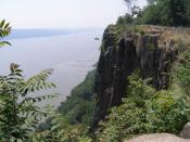 A photograph from atop the Palisades Sill looking south-east across the Hudson River, near Englewood Cliffs, NJ. I took this picture on June 18, 2006.