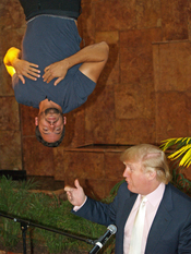 English: Donald Trump at a press conference with David Blaine announcing Blaine's latest feat, The Upside Down Man, in New York City at the Trump Tower.
