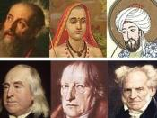 From left to right: Plato, Aristotle, Thomas Aquinas, Rene Descartes, John Locke, David Hume, Immanuel Kant, G.W.F. Hegel, Arthur Schopenhauer, Søren Kierkegaard, Friedrich Nietzsche