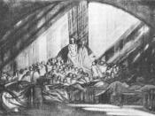 Edward Gordon Craig's stage design for act one, scene two of William Shakespeare's Hamlet at the Moscow Art Theatre, directed by Stanislavski. Design made in 1908. Published in Craig's book Towards a New Theatre (London: 1913). Production opened in Decemb