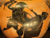 Priam killed by Neoptolemus, son of Achilles, detail of an Attic black-figure amphora, ca. 520 BC–510 BC. From Vulci.