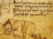 Possible self-portrait of Dunstan. Detail from the Glastonbury Classbook.