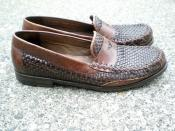 woven penny loafers by Cole Haan in brown & black leather. women's shoes. size 8.5 Rattan furniture is a favorite of ours! So is this find by ReRunRoom via shoes on https://svpply.com/item/2131340