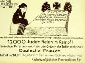 German 1920 poster/leaflet. A Roll of Honor Commemorating the 12,000 German Jews Who Died for their Fatherland in World War I.