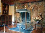 Bed in Diane de Poitiers' room of the château de Chenonceau Français : Lit dans la Chambre de Diane de Poitiers du château de Chenonceau