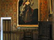 English: Diane de Poitiers as huntress in the Salon de François Ier, Château de Chenonceau in France.