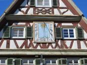 Sundial on the house of Katharina Guldenmann's birth, the mother of the astronomer Johannes Keppler. The house is in the Carl-Schmincke-Straße in Eltingen, a district of the city Leonberg in southern Germany.
