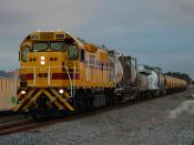 English: LQ3121 in ARG Livery on 3197 Cement Train at Thornlie