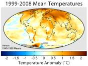Mean surface temperature change for 1999–2008 relative to the average temperatures from 1940 to 1980
