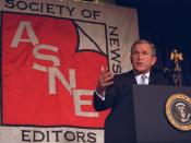 English: President George W. Bush speaking at the annual convention of the American Society of Newspaper Editors.