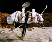 English: This artist's concept depicts a Viking lander on the surface of Mars.