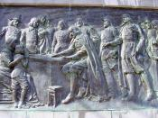 Memorial Bas Relief of the Signing of the Compact on Bradford Street in Provincetown below the Pilgrim Monument