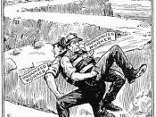 1922 cartoon, courtesy of the American Federationist, caption reads: THE UNION MAN'S BURDEN, Every Organized Worker Carries an Unorganized Worker