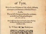 English: Title page of first edition of Wilkins and Shakespeare's Pericles, Prince of Tyre (1609)