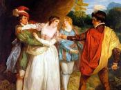 English: Valentine rescuing Silvia from Proteus in Act 5, Scene 5 in Two Gentlemen of Verona