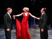 Valentine (Alex Avery), Silvia (Rachel Pickup) and Proteus (Laurence Mitchell) in the 2004 Fiona Buffini production of The Two Gents.